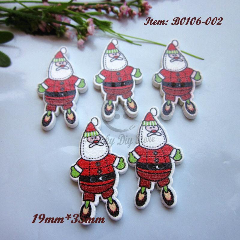 navidad botones unids material decorativo de navidad de santa claus forma botones de madera