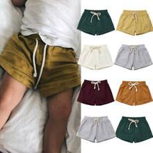 Шорты из хлопка и льна для маленьких мальчиков и девочек, детские шаровары, короткие брюки