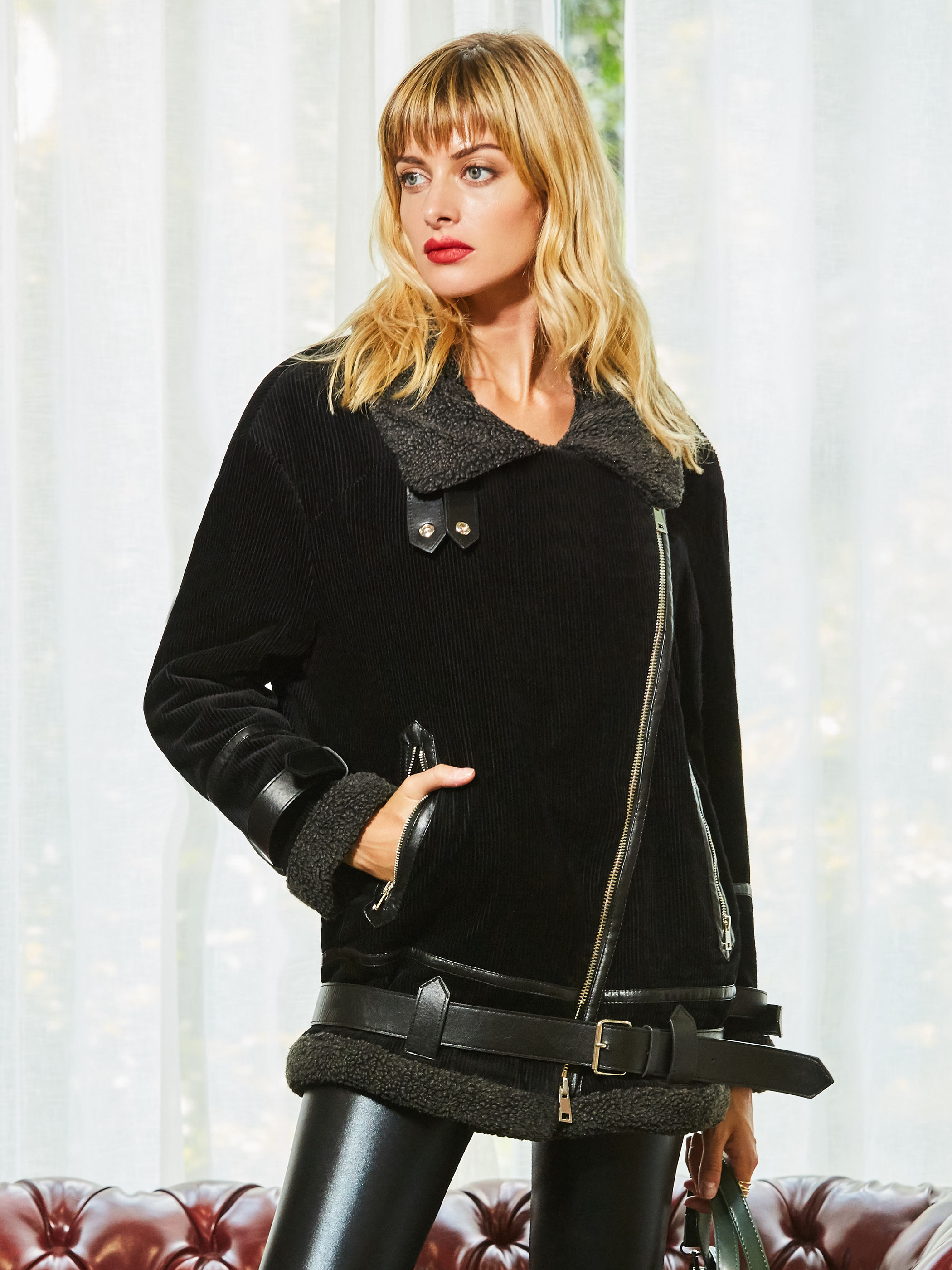 2018 New Fashion Women Autunm Winter Black Corduroy Jacket Lady Bomber Motorcycle Cool Outerwear Coat Belt Hot Sale