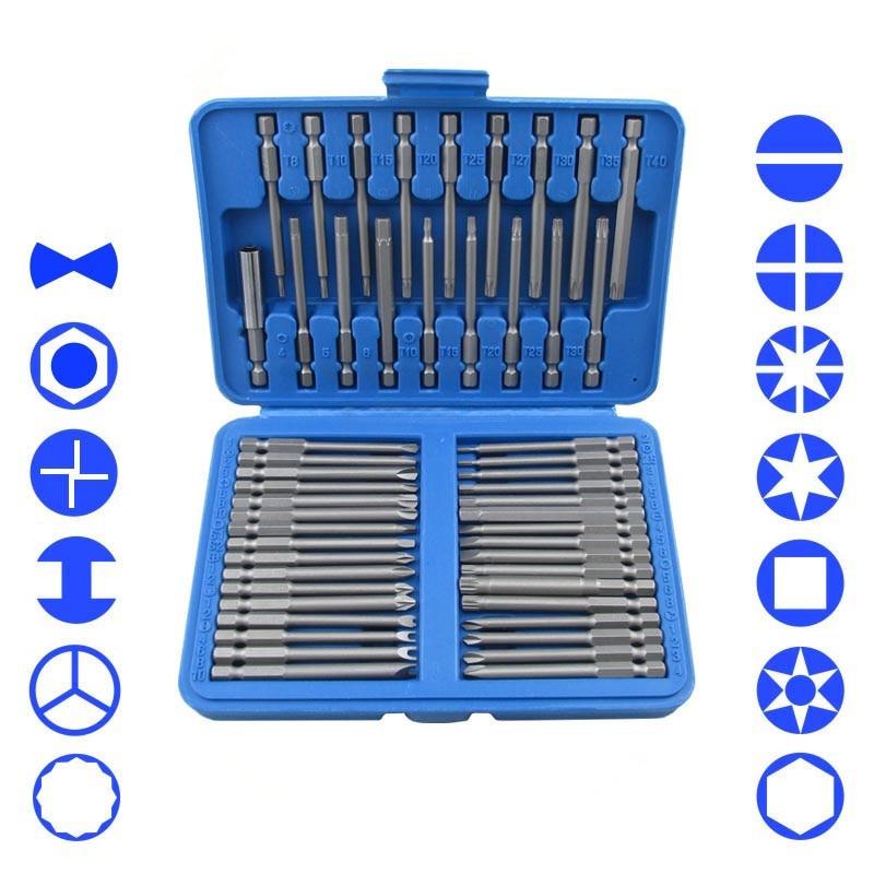 Set di punte extra lunghe da 50 pezzi Torx Star Hex Pozi Phillips Set di utensili a mano per cacciavite a taglio Cr-V 75mm Lunghezza