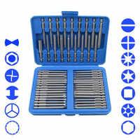 50 piezas Juego de brocas Extra largas Torx Star hexagonal Pozi destornillador de ranura Philips juego de herramientas de mano Cr-V 75mm de longitud