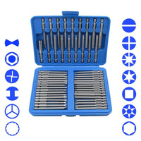 51Piece Extra Long Bit Set Torx Star Hex Pozi Phillips Slotted Screwdriver Hand Tool Set Cr V