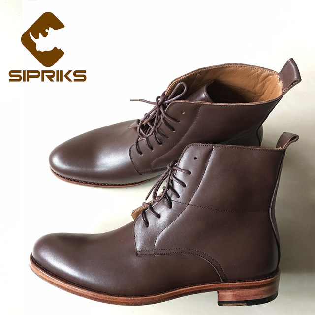 SIPRIKS tan leather boots for men italian handmade Goodyear welted dress  boots lace up derby shoes luxury mens Shoes boots flat 3ad36ab4d3a3
