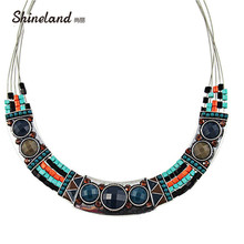 2018 High Street Women Party Dresses Ethnic Bohemia Style Enamel Beads Chunky Chains Statement Necklaces Jewelry