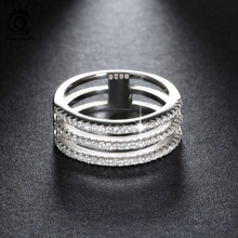ORSA JEWELS 2019 Fashion 3 Rows 69 Pieces AAA Austrian Cubic Zircon Ring on Silver Color Luxury Jewelry Rings for Lady OR80(China)
