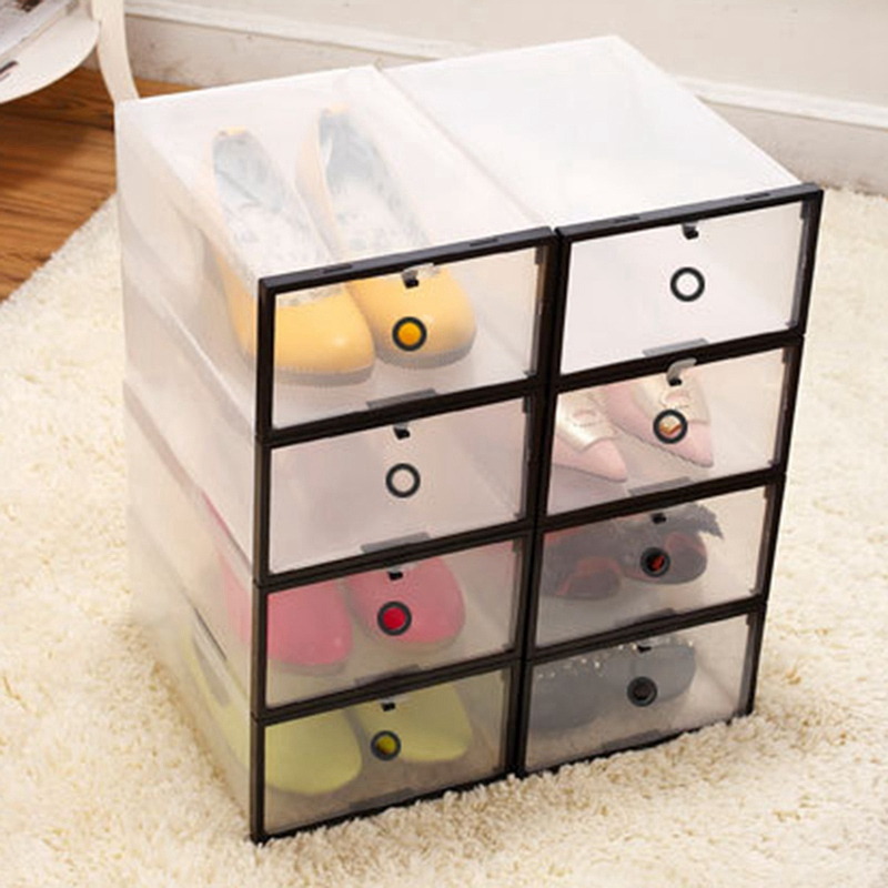 home storage box rectangle pp shoe organizer transparent