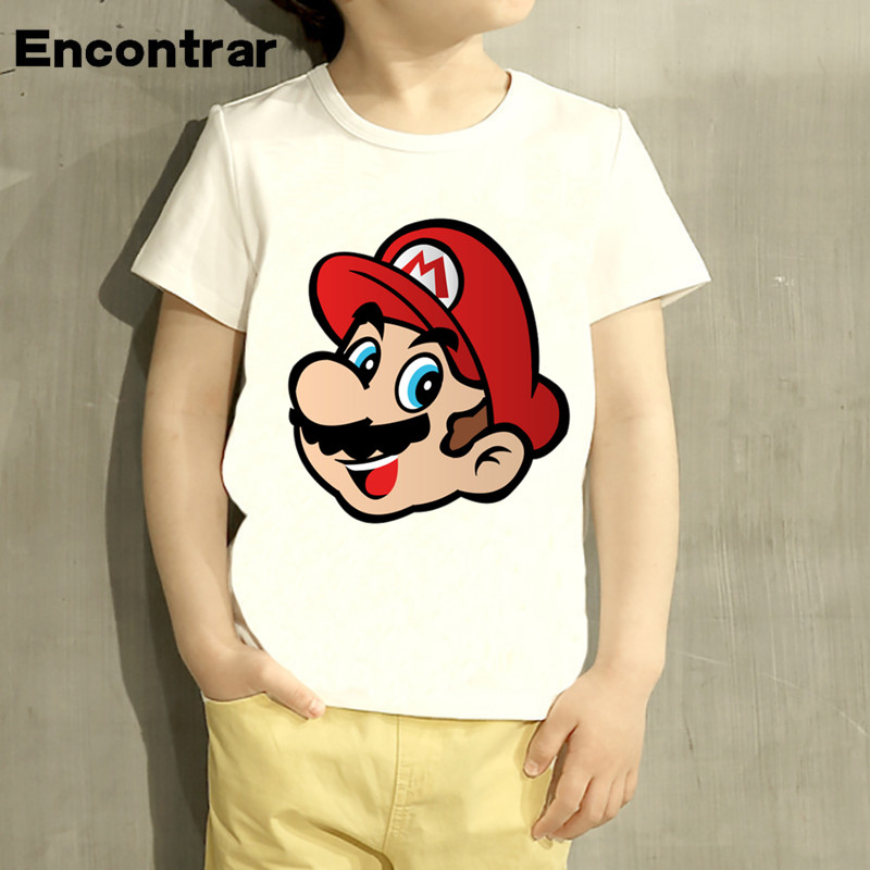 Kids Game Super Mario Head Design T Shirt Boys/Girls Great Casual Short Sleeve Tops Children T-Shirt,HKP2235