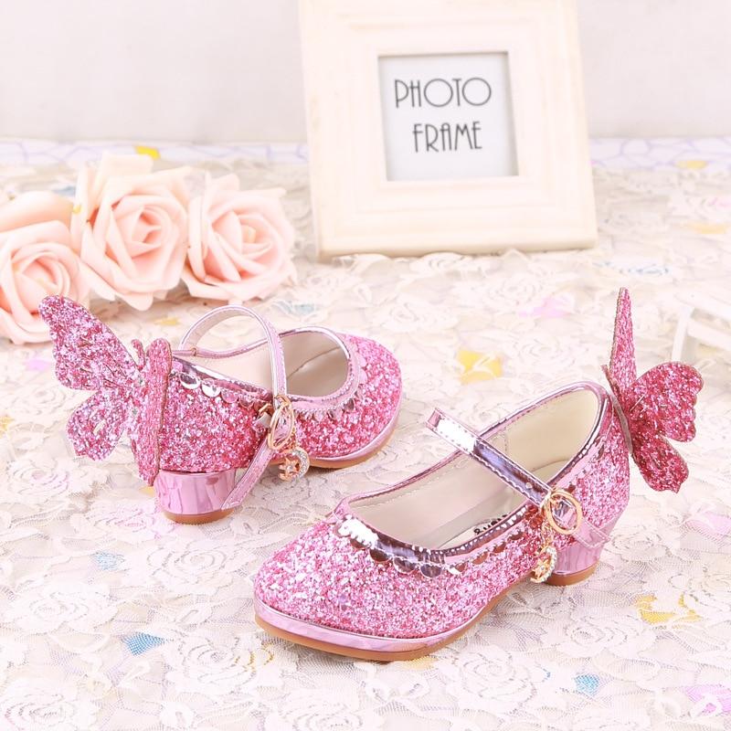 8391338572f4e Sequin Glitter Filles Haute Talons Cendrillon Papillon Enfants Chaussures  De Danse Princesse Chaussures En Cuir Pour la Partie De Mariage Sandales  Pompes ...