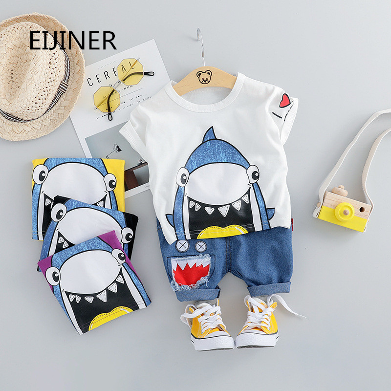 Shark Child Boy Lady Garments Summer season 2019 New Child Boys Clothes Set Cotton Child Clothes Swimsuit (Shirt+Pants) Toddler Garments Set Clothes Units, Low cost Clothes Units, Shark Child...