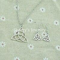 10pcs A Lot Antique Celtic Knot Triquetra Trinity Pewter Pendant Necklace And Earrings Set