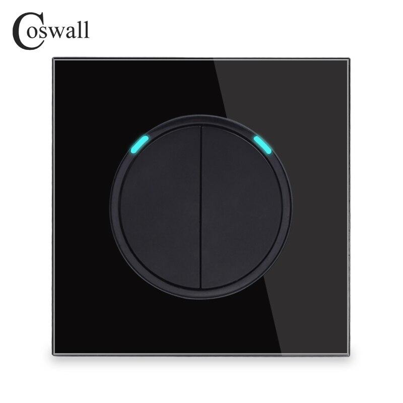 Coswall 2 gang 2 way aleatório clique em/fora interruptor de luz de parede comutado led indicador passar através do interruptor painel vidro preto