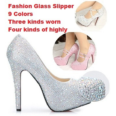 Eu33-41 Wedding Bridal Shoes Colorful Appliques Rhinestone Crystal 8 11 14cm  High Heels Sapato De Noiva Casamento 9 Colors c35bccc8e9b4