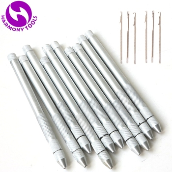 HARMONY 20 Pieces Aluminum Holder Micro Rings Beads Crochet Hook Needles For Install Micro Tubes Links I tip Hair Extensions