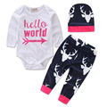 Baby Boy Clothing Set Deer Long Sleeve 3Pcs/Set Autumn Winter Christmas Tops Romper+ Pants Bottoms Hat Outfits Set Kids Suits