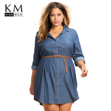 kissmilk Plus Size Fashion Women Dress Casual Loose  Long Sleeve Big Female Clothing Large Lady 3XL-6XL