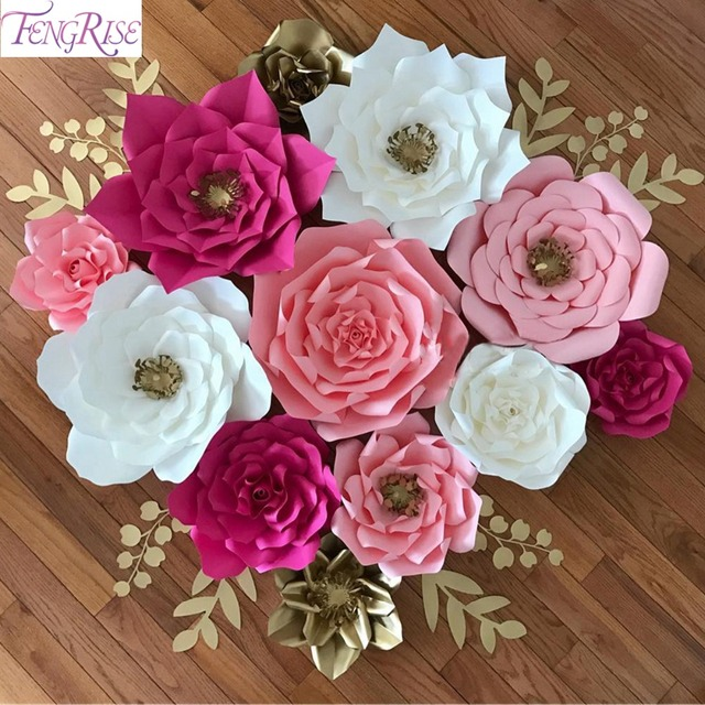 Fengrise 2pcs 20cm Diy Paper Flowers Backdrop Decorative Artificial