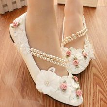 White Lace Pearls Women Party Shoes Custom Heels Birdesmaid Shoes Women Pumps
