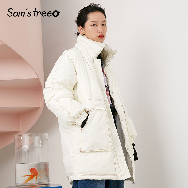 Samstree Velour Collar Patchwork Women Winter   Down     Coats   Loose Thick Long 90% White Duck   Down     Coats   Oversize