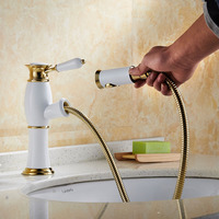 Luxury White Golden Single Lever Brass Pull Out Bathroom Vessel Sink Faucet Deck Mounted Pull Down