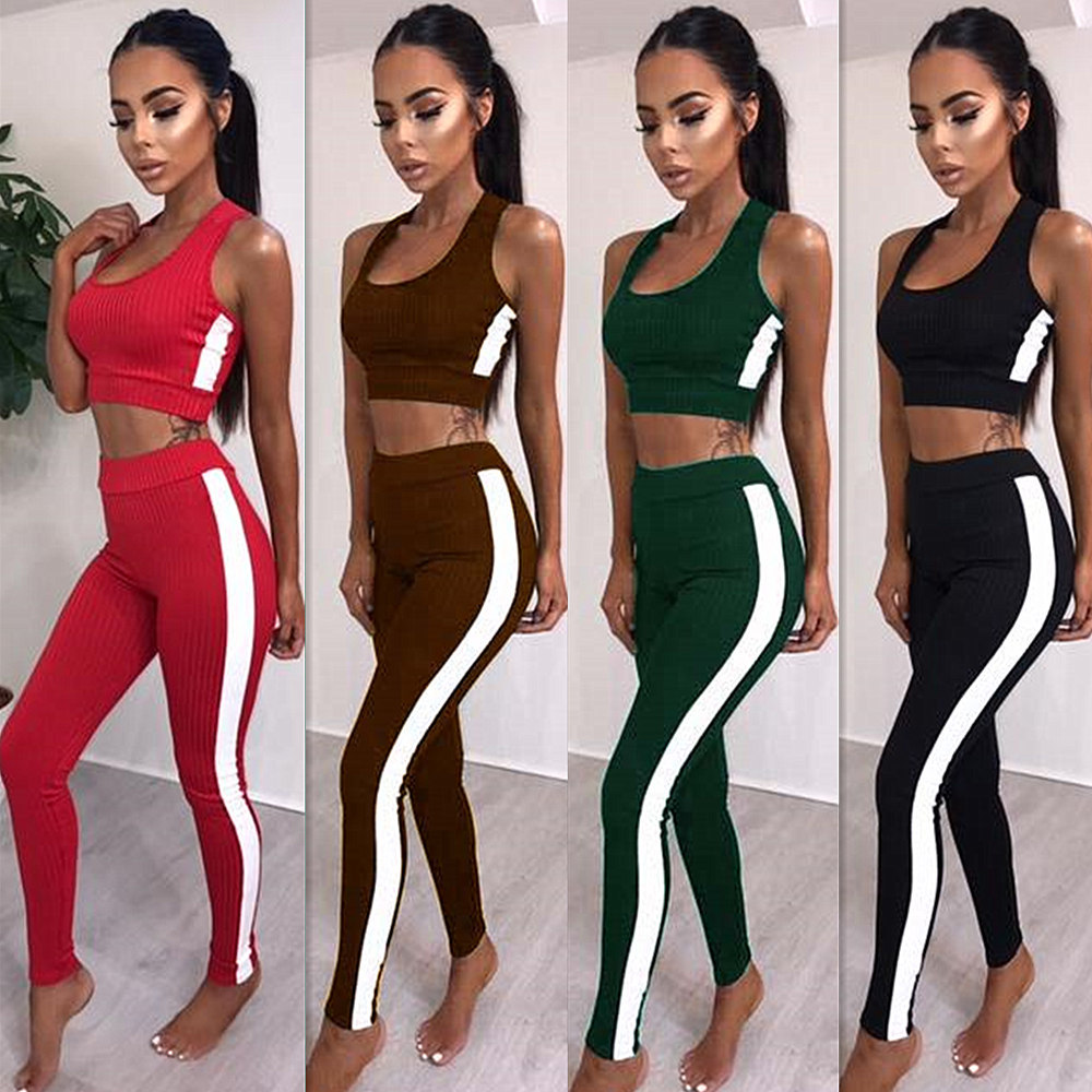 Crop Top Solid Print Suit Set 2019 Women Tracksuit Two-piece Sport Style Outfit Jogging Sweatshirt Fitness Lounge Sportwear