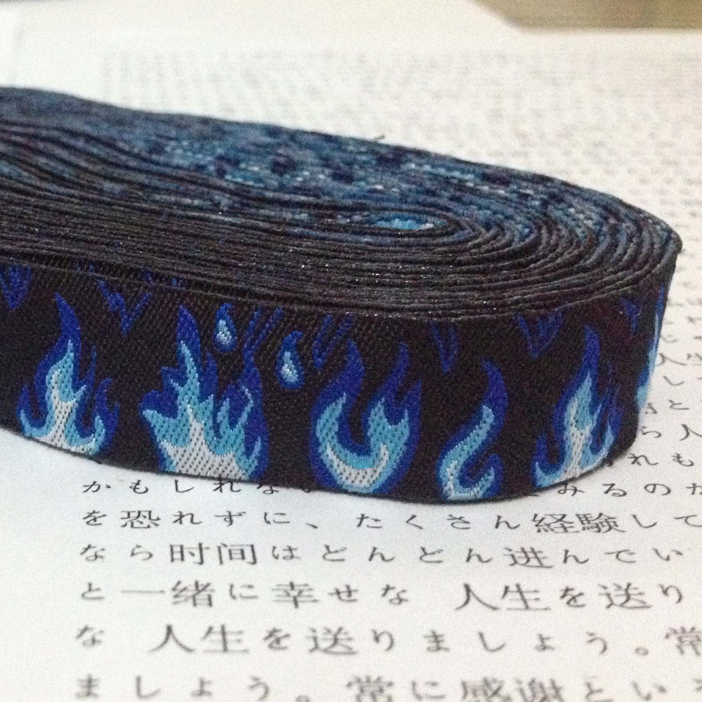 New 2014 lace 5/8' 16mm 10yard/set 100% polyester computer jacquard ribbon Black + blue flame lace