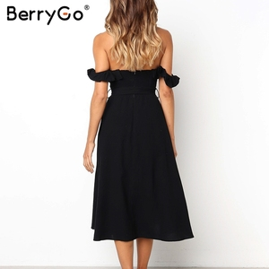 Image 4 - BerryGo Sexy off shoulder ruffled women dress Solid button sashes summer dress Elastic high waist party dress ladies midi dress