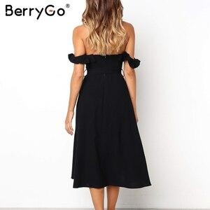 Image 4 - BerryGo Sexy off spalla increspato vestito delle donne button Solid telai vestito da estate Elastica a vita alta delle signore vestito da partito midi dress