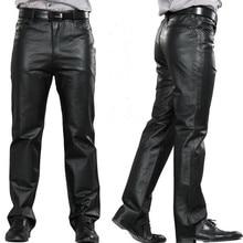 Мужские кожаные брюки, мужские брюки средней длины из натуральной кожи с карманами, повседневные Прямые брюки на молнии, мужские обычные длинные штаны M-7XL