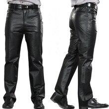 Mode Leder Hosen Männer Aus Echtem Leder Gerade Hosen M-7XL Männer Plus Größe Flache Reißverschluss Regelmäßige Motorrad Hosen