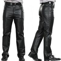 M 7XL Male Genuine Leather Pants Plus Size Straight Pants Men Leather Casual Pants Zipper Fly Men's Regular Full Length Pants
