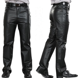 M 7XL Mannelijke Lederen Broek Plus Size Straight Broek Mannen Lederen Casual Broek Zipper Fly Heren Regelmatige Volledige lengte Broek