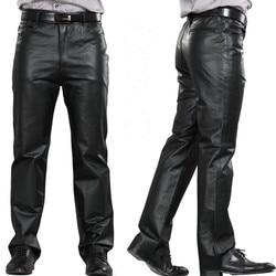 M 7XL Maschio Del Cuoio Genuino Più Il Formato Pantaloni Dritti Pantaloni di Cuoio Degli Uomini di Casual Pantaloni Zipper Fly uomo Regular Completa pantaloni di lunghezza