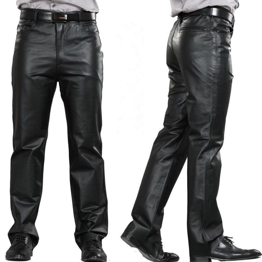 ee6929e2 M-7XL Plus Size Fashion Leather Pants Motorcycle Pants Men Genuine Leather  Straight Pants Men's