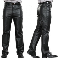 ac4bbe44700f8 M-7XL Plus Size Fashion Leather Pants Motorcycle Pants Men Genuine Leather  Straight Pants Men s Flat Zipper Fly Regular