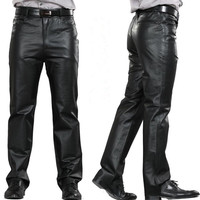 2014 Male Genuine Leather Straight Pants Men S Plus Size Sheepskin Leather Motorcycle Pants