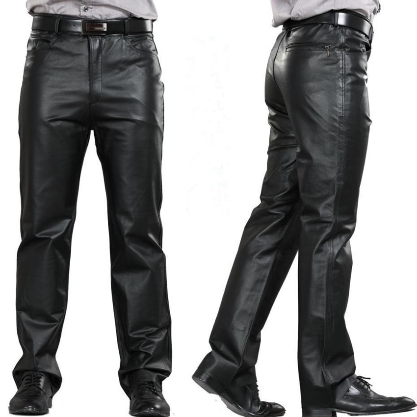 Male  Leather Pants Mid Pants Men Genuine Leather Pockets Casual Straight Pants Zipper Fly Men's Regular Full Length Pants M-7XL