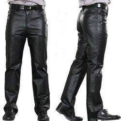 Male  Leather Pants mid Pants Men Genuine Leather pockets casual Straight Pants zipper fly Men's Regular full length pants M-7XL