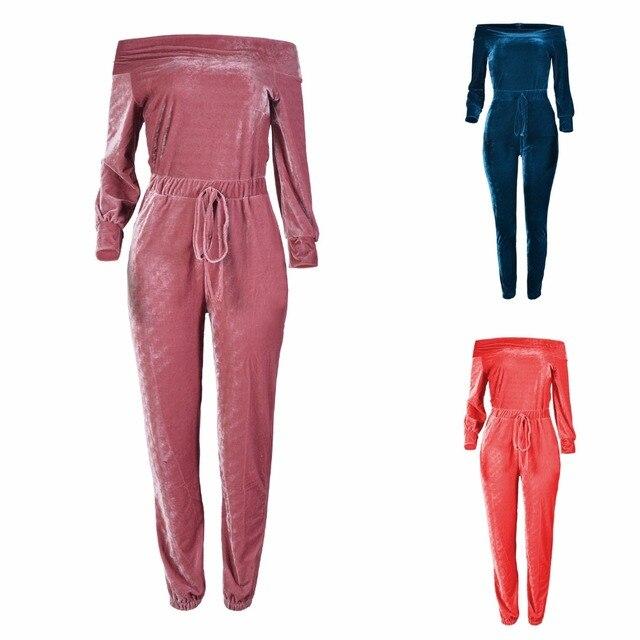 0403e7c82db Virgil bear 2017 New Women Jumpsuit and Romper Off Shoulder Velvet Velour  Sexy Bodysuits Long Sleeve Winter Jumpsuits