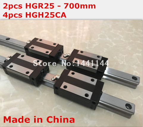 HG linear guide 2pcs HGR25 - 700mm + 4pcs HGH25CA linear block carriage CNC parts hg linear guide 2pcs hgr25 250mm 4pcs hgh25ca linear block carriage cnc parts