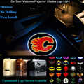 2x Wireless Senor Car Door Welcome Calgary Flames Logo Ghost Shadow Spotlight Laser Projector Puddle LED Light