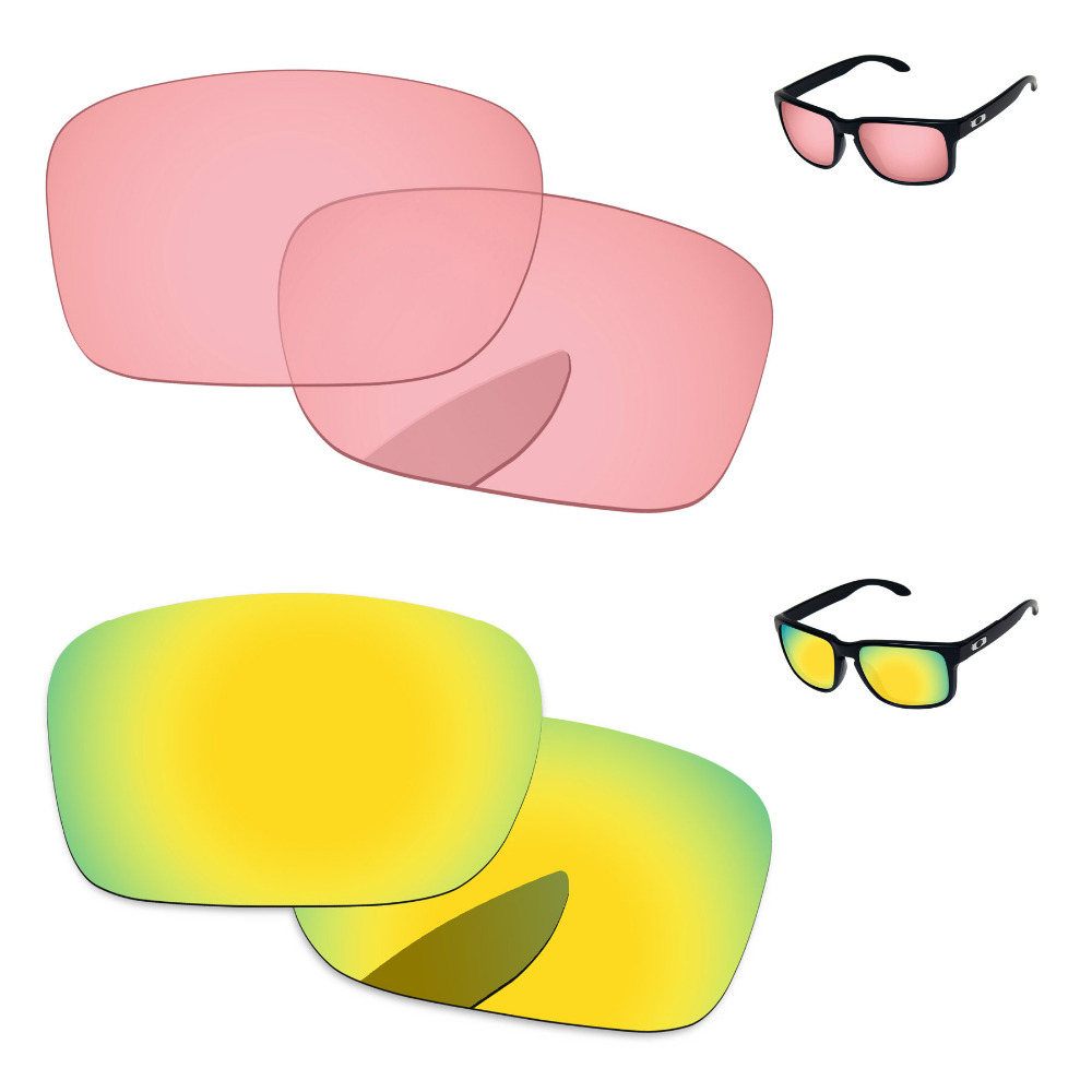 24K Golden & Crystal Pink 2 Pairs Replacement Lenses for Authentic Holbrook Sunglasses Frame 100% UVA & UVB Protection