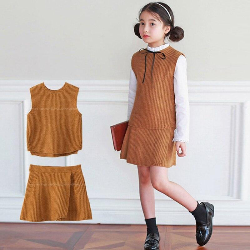 ФОТО Kids Girl Dress Branded Fashion Lolita Style Children Knit Dresses Sets 2017 Spring New Baby Girls Skirt Suit