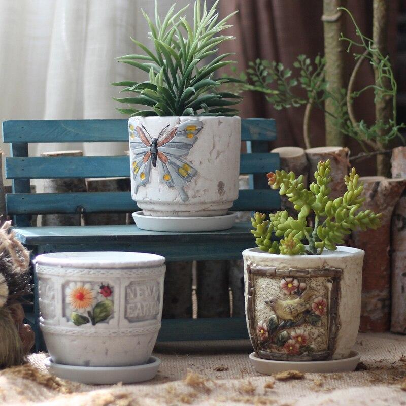 Décoration De jardin Cour Tirage De Tournesol Oiseaux Butterfuly Porcelaine Pots De Fleurs Pastorale Céramique Ustensiles Décoratifs Ornements