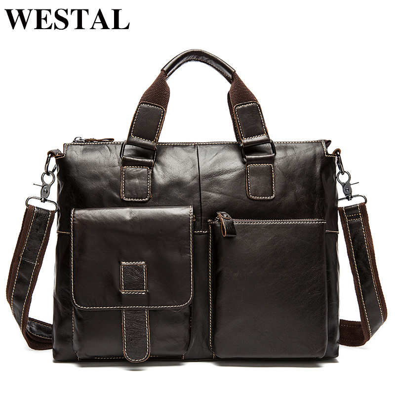 WESTAL Men s Shoulder Bags Genuine Leather Laptop Bag 14inch Messenger Bag Men Leather Shoulder Bags