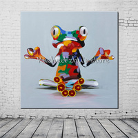 Hand Painted Modern Absract Cartoon Frog Oil Painting On Canvas Loverly Frog Wall Art Pictures For