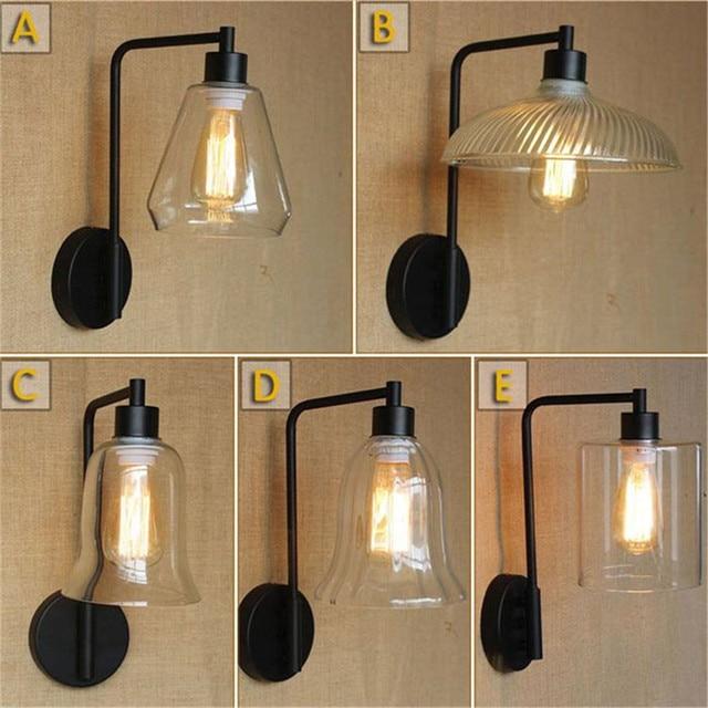 vintage glazen lampenkap wandkandelaar loft wandlamp amerikaanse