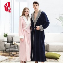 Winter Long Bathrobe Woman Warm Dressing Gown Women Bath Robe Couple Thick Lovers Towel  Mujer Kimono Peignoir Femme