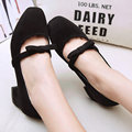 AIWEIYi Shoes Woman Ladies Pumps Shoes Sweet Bow Square Med Heel Slip on Platform Casual Dress Shoes Black Women Shoes