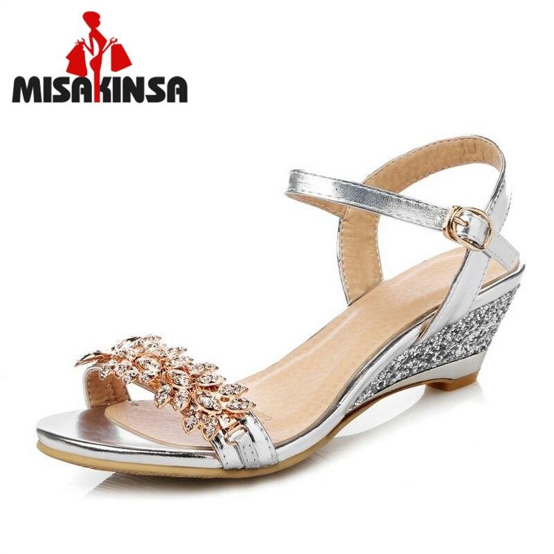 MISAKINS Size 33-43 Women Med Heel Wedges Sandals Women Crystal Studded Stiletto Open Toe Shoes Women Metal Buckle Sexy Footwear