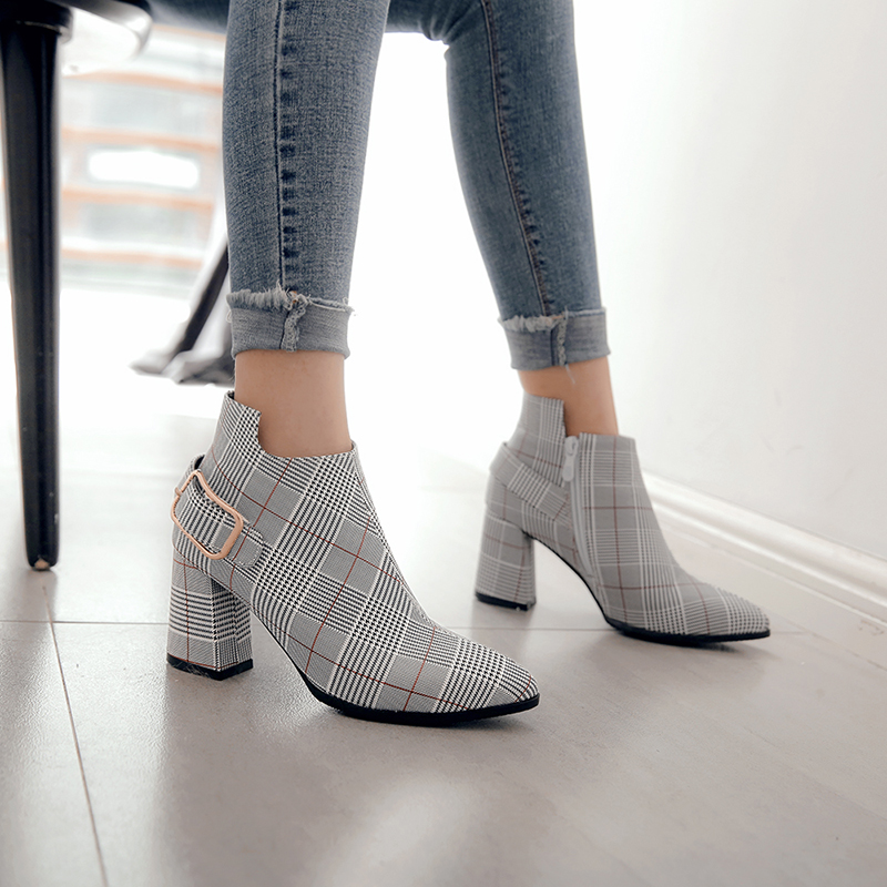 Women's Boots, Fashion Plaid Pointed Toe High Heels, Winter Ankle Boots 8